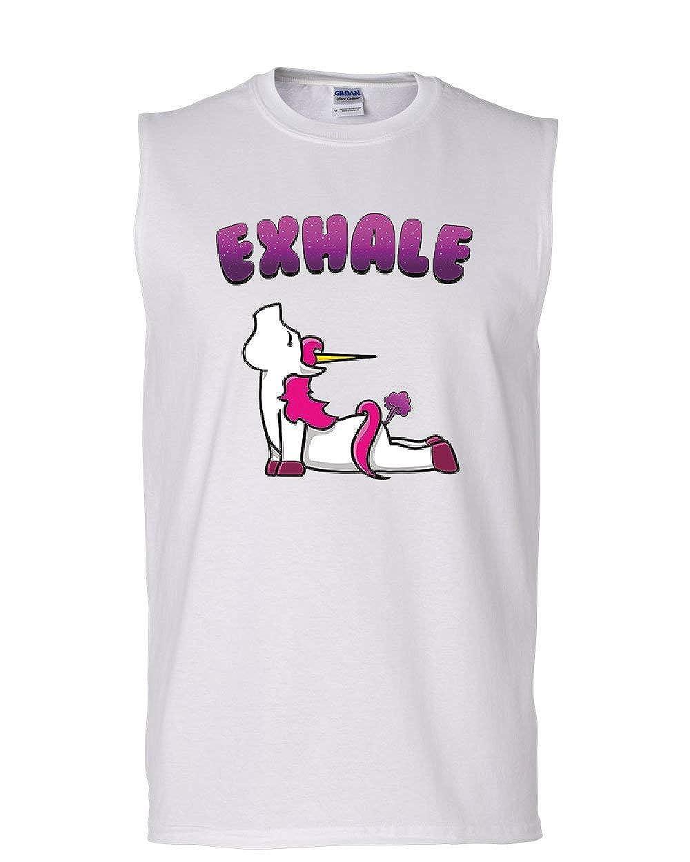 Exhale Unicorn Fart Muscle Shirt Funny Rainbow Hilarious Pilates Yoga Sleeveless
