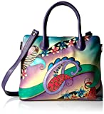 Anuschka Anna Handpainted Leather Large Tote Paisley Collage Egg Plant, Pcl-E-Paisley Collage Egg Plant