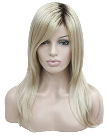 Kalyss Women s or Ladies Blonde Wig with Hair Bangs Long Straight Ombre Blonde  Wig with Natural d02b58a1e9
