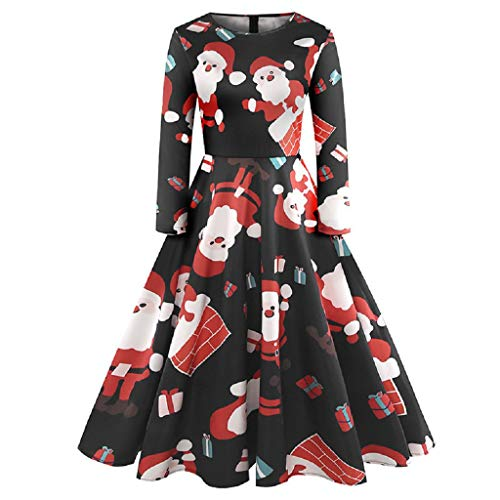 (Clearance Women's Christmas Santa Claus Print Pullover Flared A Line Dress)