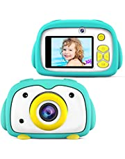 BlueFire Kids Camera 12MP HD Digital Camera for Kids Mini 2 Inch LCD Screen Child Camcorder with Cartoon Penguin Silicone Case & 256M TF Card, Kids(Green)
