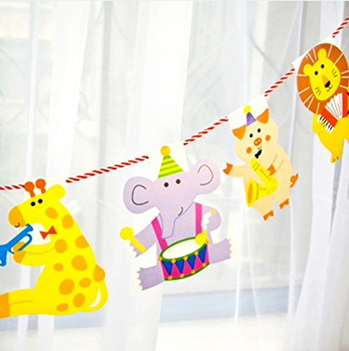 Creve Cute Animals Party Banner Garland Decorations Set 15pcs 78in by creve