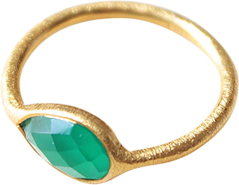 Vurmashop Anillo de Oro 18k con Piedra Natural Onix Verde- Anillo para Mujer de diseño con Piedra semipreciosa