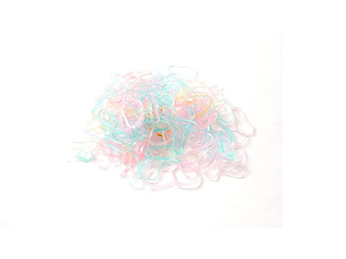 Pack of 250 mini silicone elastics. Pink hair braiding bands