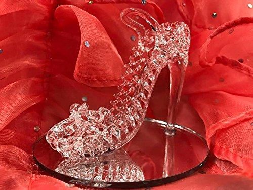 Glass Crystal High Heel Shoe Cinderella Slipper Favor for Sweet 16 Bridal Shower Birthday Keepsake 10 count -