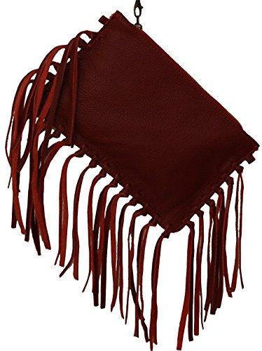 Perano Clutch Tasche - Cartera de mano de Piel para mujer Rojo - rojo