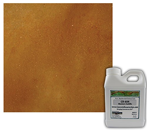 Western Concrete (Concrete Stain Professional Grade Easy to Use Western Saddle (Brown w/Copper Undertones)- 16oz Size Acid Stain)