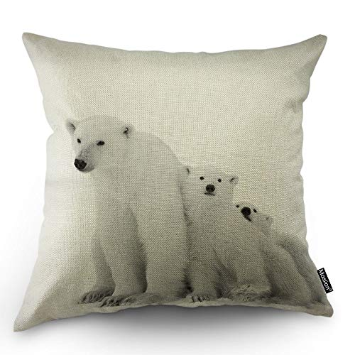 Moslion Polar Bear Decorative Pillow Case Nature Safari Arctic Animal Polar Bear with Cubs Snow Throw Pillow Cover Square Accent Cotton Linen Home 18x18 Inch White
