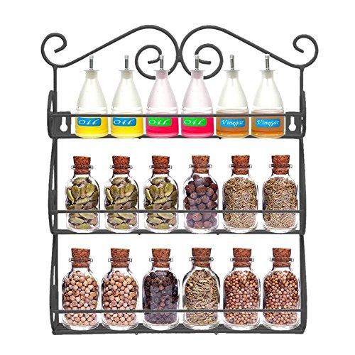 AISHN Scroll Spice Dekorative Wand befestigter 3 Tier Wandbehang Kitchen Spice Rack