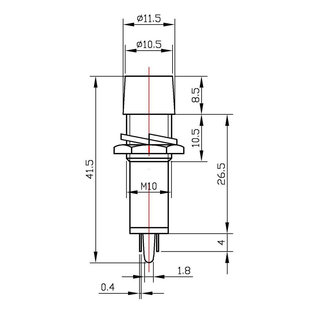 Uxcell 10 Pcs AC//DC 24V 2 Terminals Green Light Signal Threaded Indicator Lamp