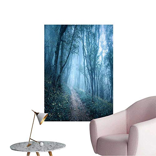 Wall Art Prints Trail Through a Mysterious Dark Forest in Fog with Green Leaves and Flowers Spring Morning for Living Room Ready to Stick on Wall,16