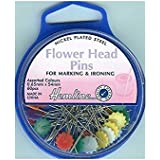Hemline Flower Head Pins, 54mm, pk of 60 by Hemline