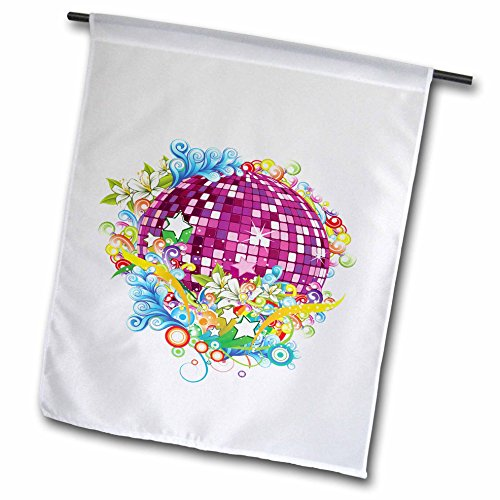 Anne Marie Baugh - Contemporary - Purple and Pink Sparkle Mirror Ball Surrounded In Flowers and Flourishes - 12 x 18 inch Garden Flag (fl_236140_1) ()