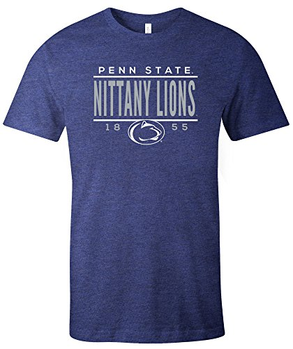 School Football Short Sleeve T-shirt - NCAA Penn State Nittany Lions Tradition Short Sleeve Tri-Blend T-Shirt, Navy,Small