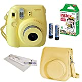 FujiFilm Yellow Instax Mini 8 Camera, 4 Piece Camera Bundle, Yellow Groovy Camera Case, 10 Sheets of Film, Microfiber Cloth Lenses Cleaner