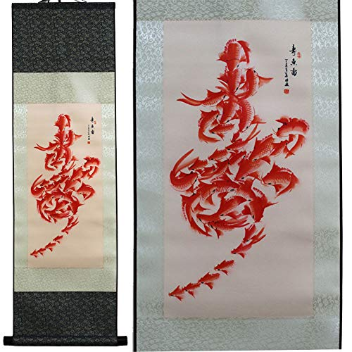 SweetHome Asian Silk Scroll & Picture Scroll & Wall Scroll Calligraphy Hanging Artwork (Fish Diagram Symbol Longevity)