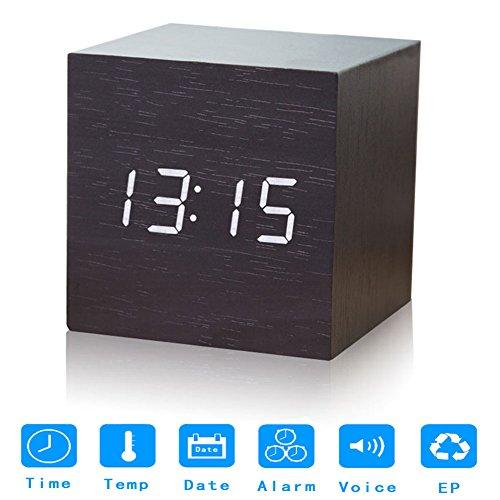 Nescope Digital Alarm Clock Digital Clock Cube Design Wooden Clock with 12/24Hr 3 Sets of Alarms Temperature Display