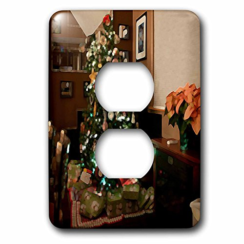3dRose lsp_50535_6 Christmas Tree with Presents Wrapped Below it and Mirror and Black Tiles Behind on Hard Wood Floors Light Switch Cover