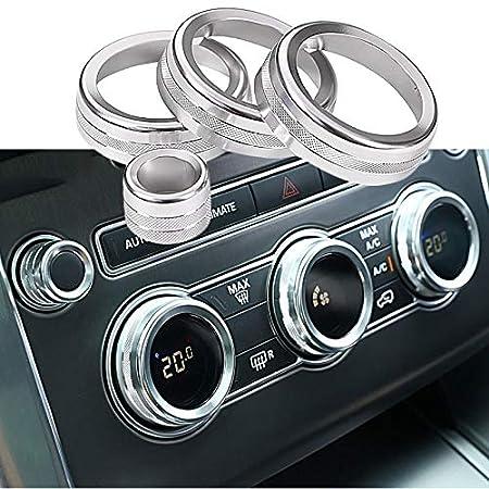 CUHAWUDBA pour Range Rover Sport Autobiography 14-17 Bouton de Climatisation Automobile Garniture Cercle Audio en Aluminium Argent/é