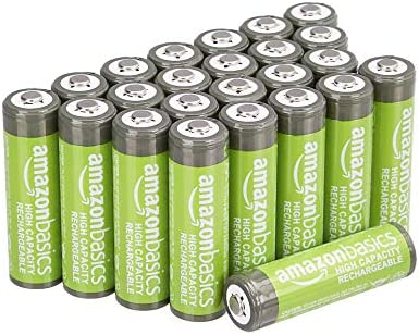 AmazonFundamentals AA High-Capacity Ni-MH Rechargeable Batteries (2400 mAh), Pre-charged - Pack of 24