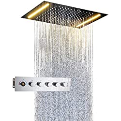 "Bathroom Luxury LED Ceiling Mixer Rain Combo Shower Set Wall Mounted Rainfall Shower Head System Polished Chrome 27.5""x15"" Inches(70x38cm)"
