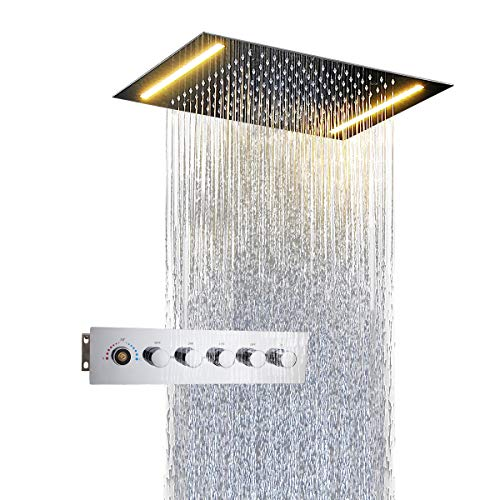 Bathroom Thermostatic Shower Set Slide Bar Remote Control Led Light Rainfall Misty Shower Heads 400mm Rain Hand Showers Ceiling To Have A Unique National Style Shower Equipment