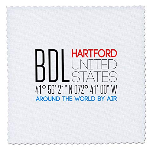 Hartford Quilt - 3dRose Alexis Design - Around The World By Air - Beautiful text BDL, Hartford, United States, location coordinates - 18x18 inch quilt square (qs_311087_7)