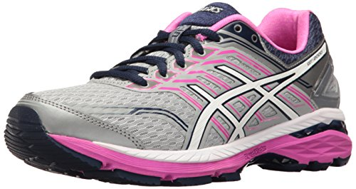 ASICS Women's GT-2000 5 Running Shoe, Mid Grey/White/Pink Glow, 8.5 M US