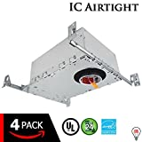 """ESD Tech 2"""" Inch LED New Construction Recessed Housing Can with Driver for Ceiling Downlights. Airtight, IC-Rated, Dimmable, UL Listed, Energy Star, TP24 Connection (4-Pack)"""