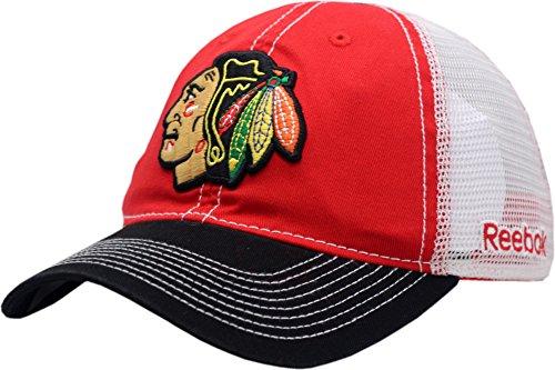 (Chicago Blackhawks 3-Tone Mesh Slouch Snapback-10355)