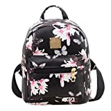 Kemilove Women Girls Floral Printing PU Leather Shoulder Bag Backpack