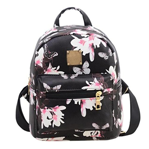 Women Girls Floral Printing PU Leather Shoulder Bag Backpack (Black)