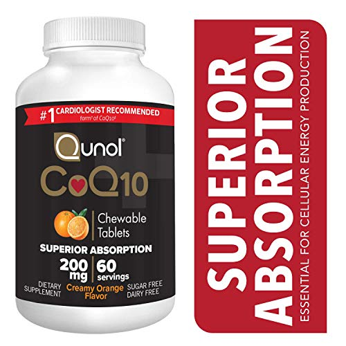 Qunol CoQ10 200mg, Superior Absorption Natural Supplement Form of Coenzyme Q10, Antioxidant for Heart Health, Chewable Tablet, Creamy Orange Flavor, - 60 Orange Chewable Tablets