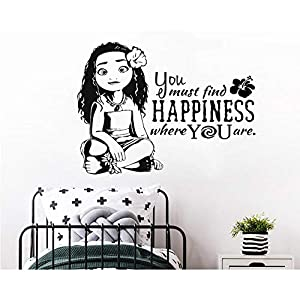 Xiaomeihao Moana Princess Silhouette PVC Wall Decal Cartoon Movie Character Wall Stickers for Kids Rooms Children's Decoration Decals 77X57Cm