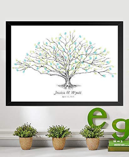 Guestbook Tree, Low Oak Thumbprint Alternative Guest Book Wedding, Family Reunions (Guestbook Sizes: 13