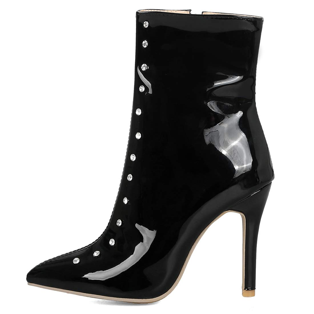 1a83265fa294 Amazon.com | Vitalo Womens High Heel Stiletto Patent Leather Diamante Ankle  Boots Pointed Toe Zip Up Booties | Ankle & Bootie