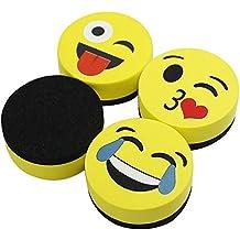 "VIZ-PRO Magnetic Smiley Face Circular Whiteboard Eraser / 4 Pack of 2"" Dry Erase Erasers"