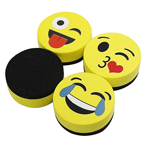 VIZ-PRO Magnetic Smiley Face Circular Whiteboard Eraser / 4 Pack of 2