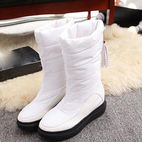 Botas Mujer,Ouneed ® Las mujeres de la manera guardan la nieve caliente del algodón patean los cargadores altos de la rodilla Blanco