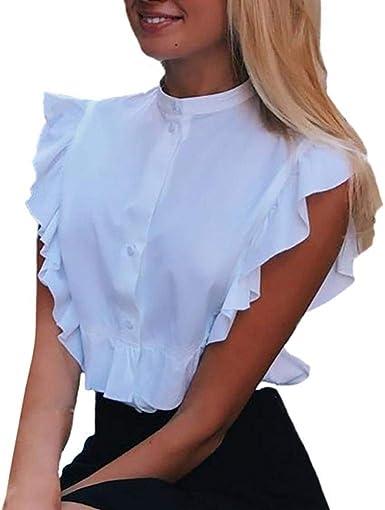 Blusa Elegante Mujer Moda Camisa Verano Stand Cuello Sin Mangas Volantes Un Solo Pecho Especial Estilo Shirt Slim Fit Color Sólido Hipster Moda Joven Chalecos (Color : Blanco, Size : L): Amazon.es: