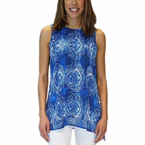 Fever Ladies' Double Layer Sleeveless Blouse/ Top - High Neck - Keyhole Back - Double layer chiffon fabric (Large, (Cobalt/White Print)) price tips cheap