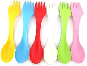 SRTYZ Cuchara 3 en 1, 6 Pcs Cuchillo y Tenedor de plástico, Cubiertos Herramienta Combinada de Cubiertos, Ideal para Kits de Viaje de Campamento y ...