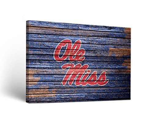 Victory Tailgate Ole Miss Rebels Canvas Wall Art Weathered Design (24x36)