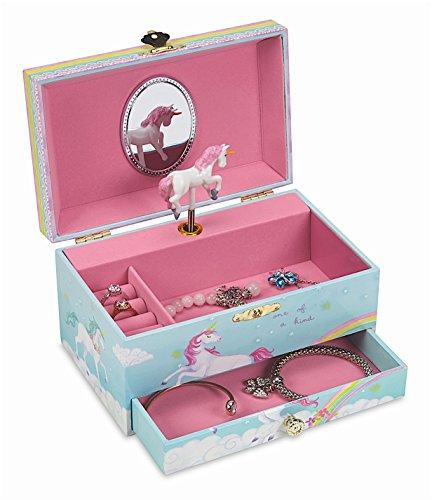 Jewelkeeper Girl's Musical Jewelry Storage Box with Pullout Drawer, Rainbow Unicorn Design, The Unicorn Tune
