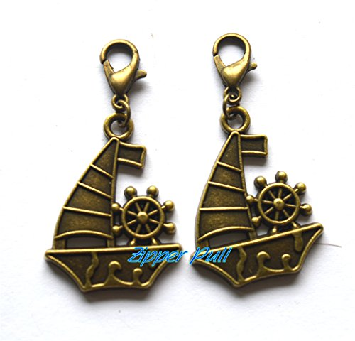(Sailboat charm, boat charm, sailboat zipper pull, nautical boat charm on lobster clasp, Zipper Pull, Perfect for Necklaces, Bracelets , keychain and earrings)