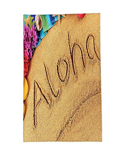 Interestlee Fleece Throw Blanket Aloha Beach Summer Vacation Memories Sunny Sand Flowers Beach Hawaii Wall Art for Bedroom Hanging Sand Blue Green Fuchsia Red by Interestlee