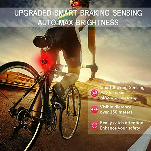 Bike Tail Light USB Rechargeable, Smart Brake Sensing Rear Lights Ultra Bright IPX6 Waterproof Bicycle Back Lights, Road Bike Accessories for Road Bike, Helmets, Cycling Safety