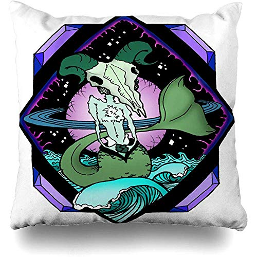 Throw Pillow Cover Cushion Case Astrology Sea Goat Capricorn Riding Art Waves Front Abstract Color Creative Drawing Design Home Decor Square 18x18 Inches