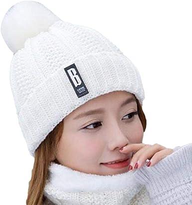 Qingsiy Sombrero de Lana para Mujer, Gorro de Bola de Pelo de ...