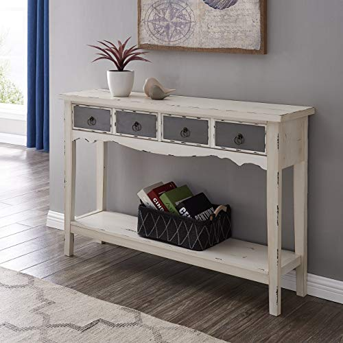 (BELLEZE Hand Painted Distressed Antique White Finish Accent Console Table)